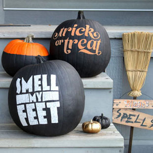 Typographic Painted Pumpkins for Halloween