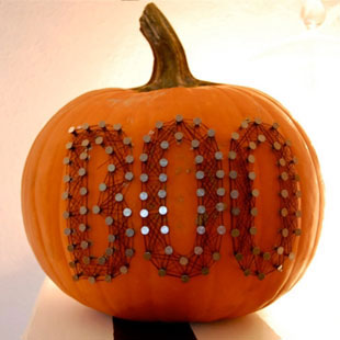 Nail and Thread Typography Pumpkins for Halloween
