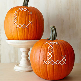 Cross Stitch Monogram Typographic Pumpkins for Halloween