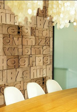 Letterpress typography wall art