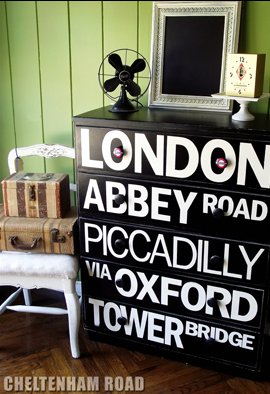 dresser decorated with typography