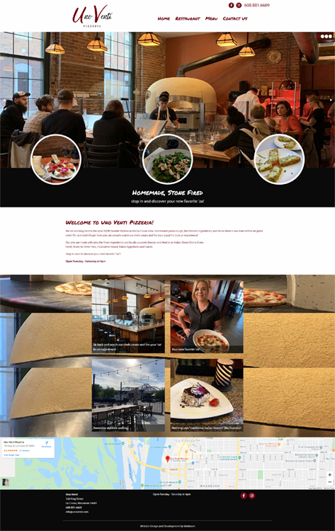 Uno Venti Pizzeria - La Crosse, WI website design
