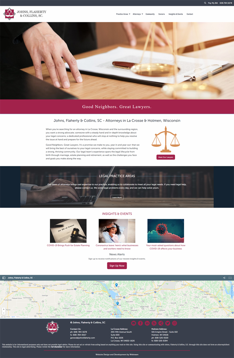 Johns, Flaherty & Collins, SC new website design