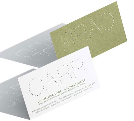Dr. Melissa Carr, Acupuncturist Business Card
